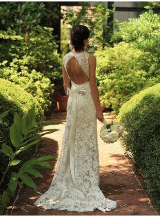 Delicate Lace Wedding Dresses Sheath/Column Sweep Train V-neck Sleeveless (002144847)