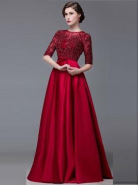 A-Line/Princess Scoop Neck Floor-Length Evening Dress With Beading
