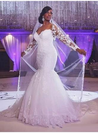 Trumpet/Mermaid Tulle Long Sleeves Sweetheart Court Train Wedding Dresses