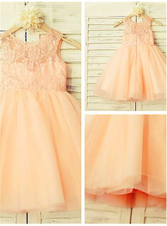 Scoop Neck A-Line/Princess Flower Girl Dresses Tulle/Lace Pleated Sleeveless Knee-length