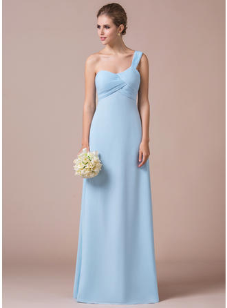 Empire Chiffon Bridesmaid Dresses Ruffle One-Shoulder Sleeveless Floor-Length