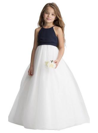 A-Line/Princess Halter Floor-length Chiffon/Tulle Sleeveless Flower Girl Dress