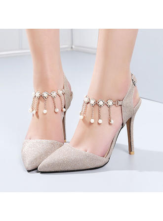 Women's Stiletto Heel Leatherette With Sequin No Wedding Shoes