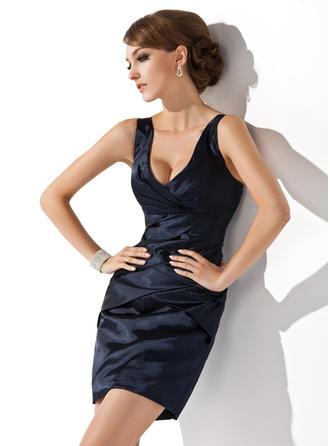 Sheath/Column V-neck Short/Mini Charmeuse Cocktail Dress With Ruffle