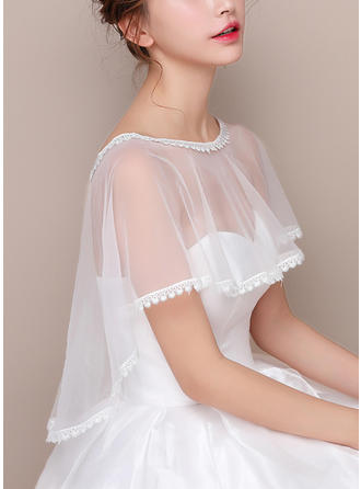 Wrap Wedding Lace Tulle Sleeveless With Lace Wraps (013125016)