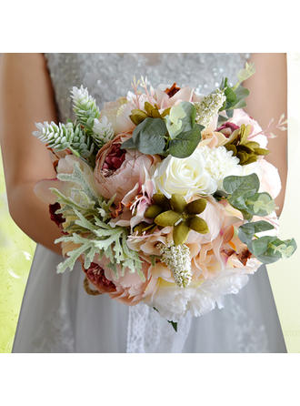 "Bridal Bouquets Round Wedding Satin/Silk 11.8""(Approx.30cm) Wedding Flowers"