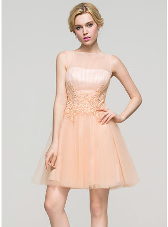 Tulle Regular Straps A-Line/Princess Scoop Neck Homecoming Dresses
