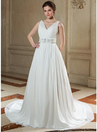 Luxurious Chapel Train A-Line/Princess Wedding Dresses Sweetheart Chiffon Sleeveless