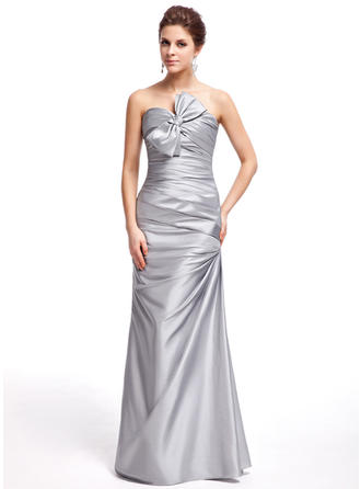 Sheath/Column Sleeveless Ruffle Bow(s) Taffeta Prom Dresses