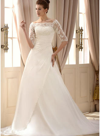 A-Line/Princess Square Chapel Train Wedding Dress With Lace Beading