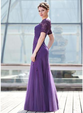 A-Linie/Princess-Linie Schatz Tüll Kurze Ärmel Bodenlang Rüschen Perlstickerei Pailletten Kleider für die Brautmutter (008211447)