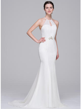 Scoop Trumpet/Mermaid Wedding Dresses Chiffon Beading Sequins Sleeveless Sweep Train