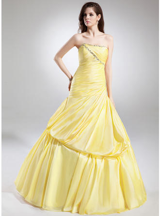 Ball-Gown Sweetheart Floor-Length Taffeta Prom Dress With Ruffle Beading
