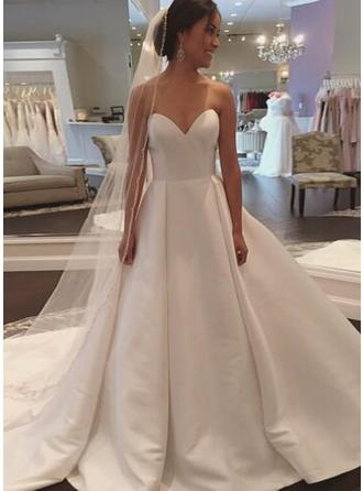 Elegant Court Train Ball-Gown Wedding Dresses Sweetheart Satin Sleeveless