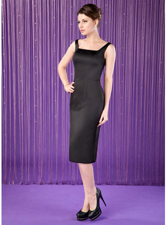 Sheath/Column Satin Sleeveless Square Neckline Knee-Length Zipper Up Mother of the Bride Dresses