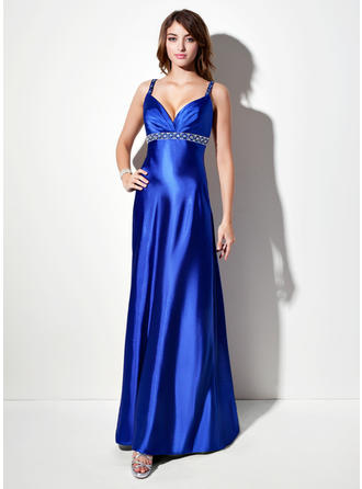 Charmeuse Sleeveless Empire Prom Dresses V-neck Ruffle Beading Sweep Train
