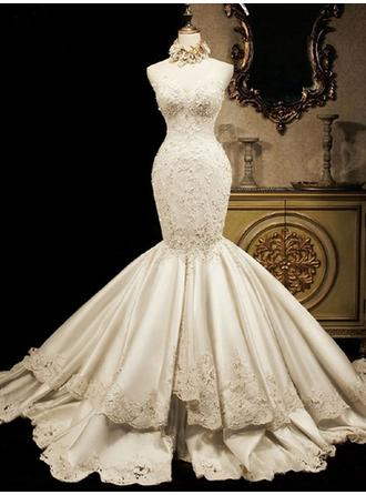 Trumpet/Mermaid Satin Sleeveless Sweetheart Cathedral Train Wedding Dresses