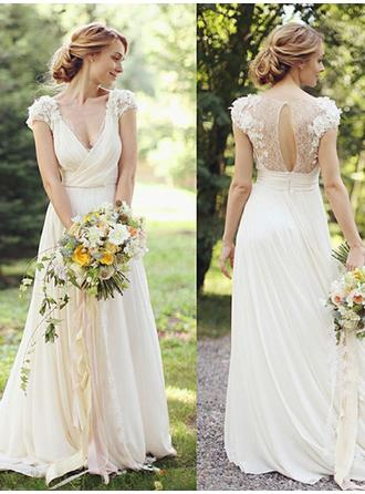 Magnificent Floor-Length A-Line/Princess Wedding Dresses Deep V Neck Chiffon Short Sleeves