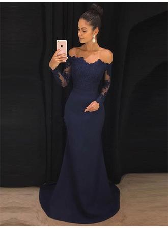 Trumpet/Mermaid Satin Prom Dresses 2019 New Sweep Train Off-the-Shoulder Long Sleeves