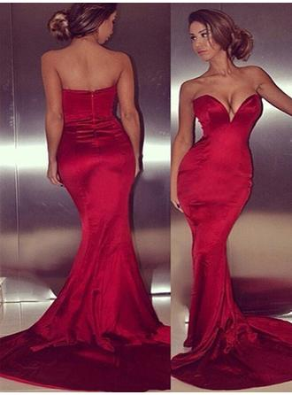 Sexy Trumpet/Mermaid Satin Prom Dresses