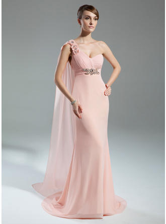 Empire Chiffon Sleeveless One-Shoulder Watteau Train Zipper Up Mother of the Bride Dresses
