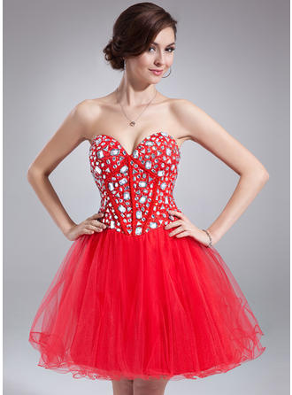 A-Line/Princess Sweetheart Short/Mini Tulle Homecoming Dresses With Beading