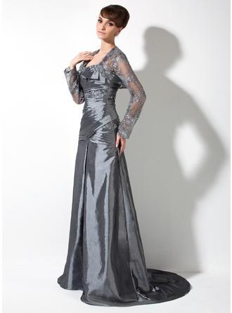 A-Linie/Princess-Linie Eine Schulter Taft Ärmellos Sweep/Pinsel zug Rüschen Spitze Perlstickerei Kleider für die Brautmutter (008006082)