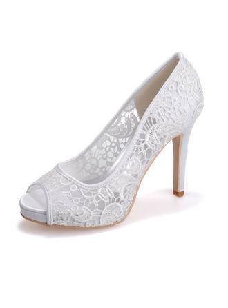 Frauen Peep-Toe Absatzschuhe Sandalen Stöckel Absatz Lace Satin Brautschuhe