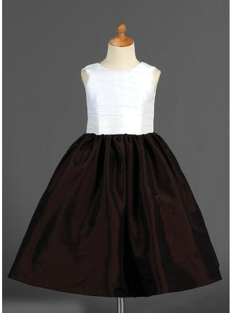 A-Line/Princess Scoop Neck Ankle-length With Flower(s) Taffeta Flower Girl Dress