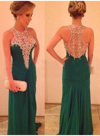 Sheath/Column Scoop Neck Sweep Train Evening Dress With Beading