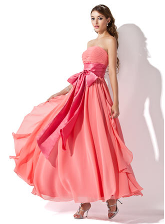 Empire Strapless Ankle-Length Prom Dresses With Ruffle Sash Bow(s) Cascading Ruffles