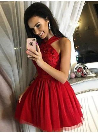 Sequins V-neck Tulle A-Line/Princess Homecoming Dresses