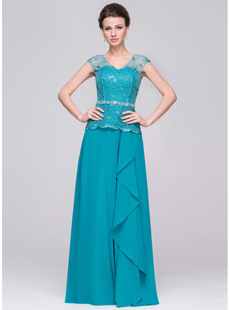 A-Line/Princess V-neck Chiffon Sleeveless Floor-Length Beading Cascading Ruffles Mother of the Bride Dresses