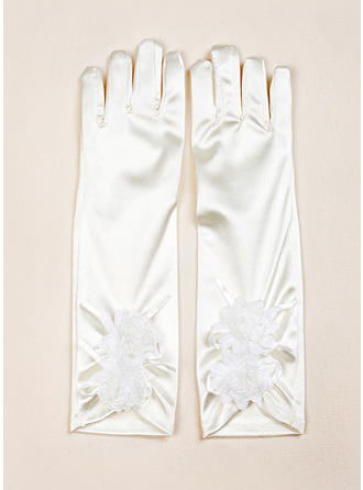 Elastic Satin Children's Gloves Flower Girl Gloves Fingertips S:28cm/M:32cm Gloves