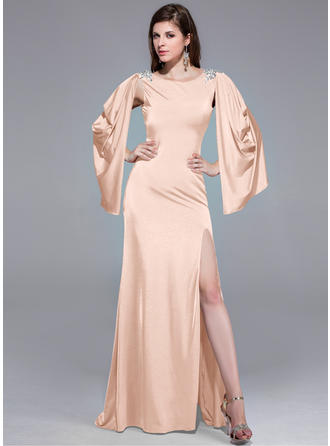 A-Line/Princess Jersey Prom Dresses Beading Split Front Scoop Neck Long Sleeves Sweep Train