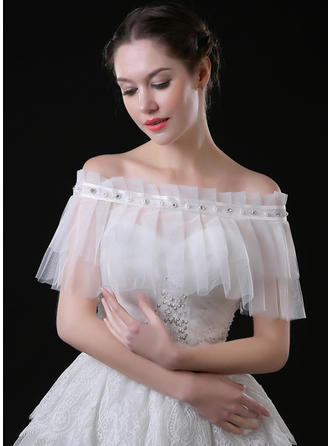 Shawl Wedding Lace Tulle Sleeveless With Beading Rhinestones Wraps