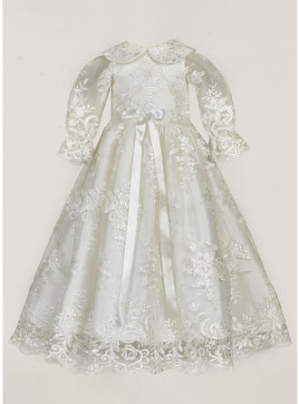 Lace Peter Pan Collar Baby Girl's Christening Gowns With Long Sleeves