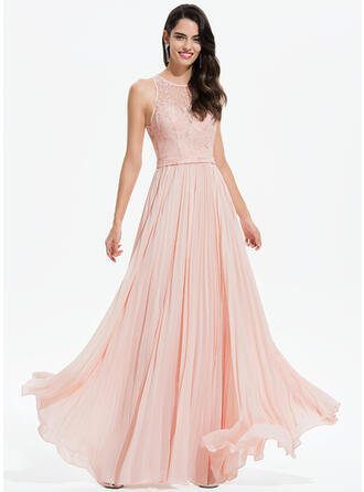 A-Line Scoop Neck Floor-Length Chiffon Prom Dresses With Lace Pleated