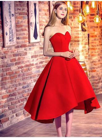 Ruffle A-Line/Princess Tea-Length Satin Homecoming Dresses
