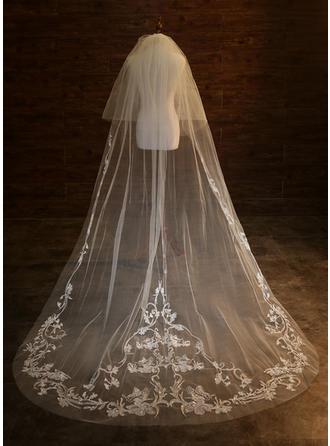 Two-tier Lace Applique Edge Chapel Bridal Veils With Applique
