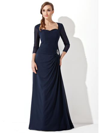 A-Line/Princess Chiffon 3/4 Sleeves Sweetheart Sweep Train Zipper Up Mother of the Bride Dresses