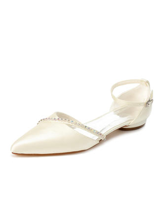 Women's Closed Toe Flats Low Heel Satin With Rhinestone Wedding Shoes