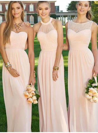 A-Line/Princess Sleeveless Floor-Length Ruched Chiffon Bridesmaid Dresses
