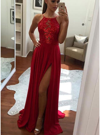 A-Line/Princess Chiffon Prom Dresses Appliques Lace Split Front Halter Sleeveless Sweep Train