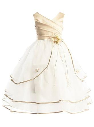 V-neck Ball Gown Flower Girl Dresses Taffeta/Tulle Sash/Flower(s) Sleeveless Ankle-length