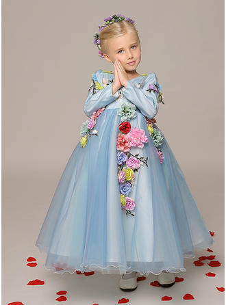 A-Line/Princess V-neck Ankle-length With Flower(s) Organza Flower Girl Dresses