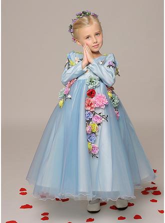 Forme Princesse Longueur cheville Robes à Fleurs pour Filles - Organza Manches longues Col V avec Fleur(s)