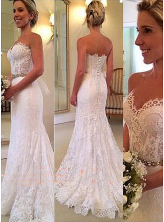 Sweetheart Trumpet/Mermaid Wedding Dresses Lace Beading Sleeveless Sweep Train