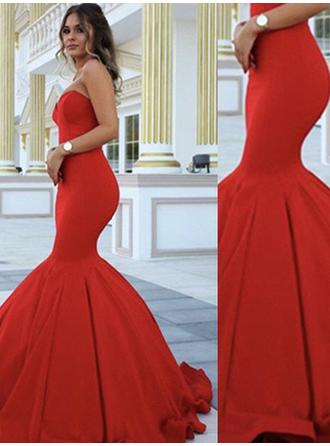 Trumpet/Mermaid Satin Prom Dresses Simple Floor-Length Sweetheart Sleeveless