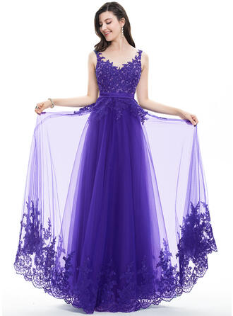 A-Line/Princess V-neck Floor-Length Tulle Lace Prom Dresses With Beading Sequins Bow(s)